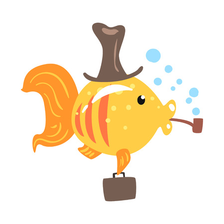 Funny cartoon golden fish in a hat with briefcase smoking pipe colorful character vector Illustration