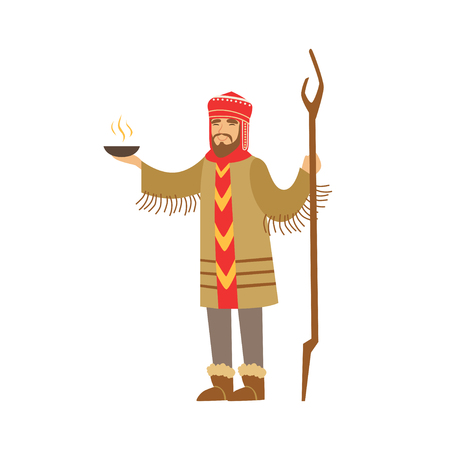 Shaman character in national clothes performing ritual offerings to the gods vector Illustration Illustration