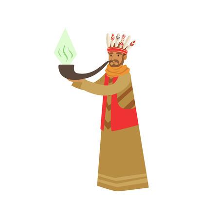 Shaman character smoking big pipe of peace vector Illustration