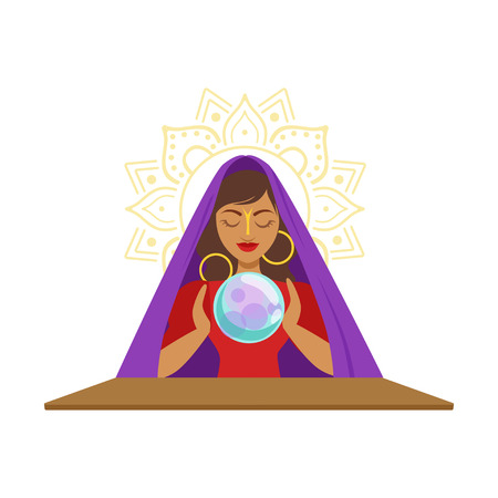 Fortune teller kijken kristallen bal, occult ritueel vector illustratie Stock Illustratie