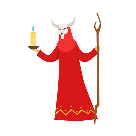 Female shaman in a red dress and horned mask performing authentic ritual vector Illustration
