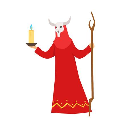Vrouwelijke sjamaan in een rode kleding en een gehoornd masker die authentieke rituele vectorillustratie uitvoeren Stock Illustratie