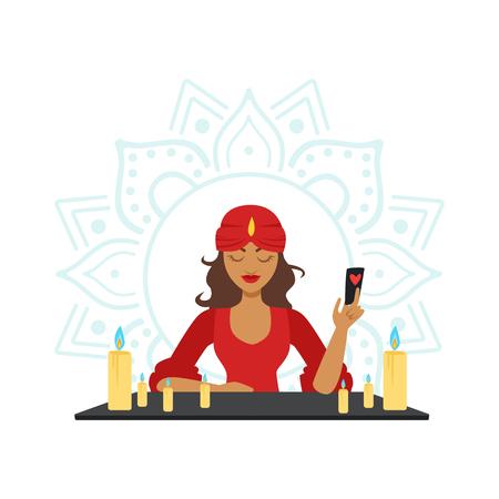Fortune teller voorspelling met kaarten, occult ritueel vector illustratie Stock Illustratie
