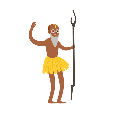 Indian shaman character in a loincloth performing authentic ritual vector Illustration
