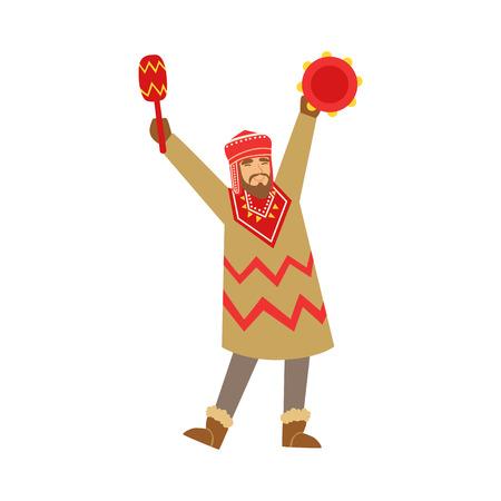 Medicijnman karakter in nationale kleding dansen met een tamboerijn, authentieke ritueel vector illustratie