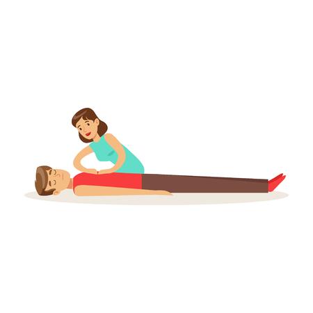 Femme, donner, a, RCP, massage cardiaque, pour, essoufflé, reanimation, procédure, premiers secours, vecteur Banque d'images - 83319664