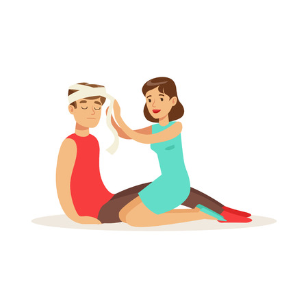 Woman bandaging the head of the injured man, first aid vector Illustration