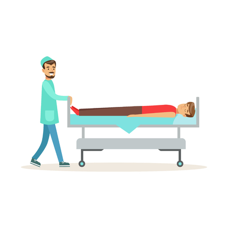 Emergency doctor transporting injured man on emergency medical stretcher, first aid vector Illustration