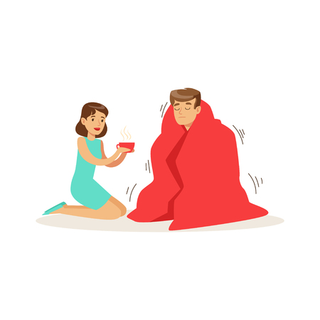 Woman helping a frozen man wrapped in red a blanket, first aid vector Illustration