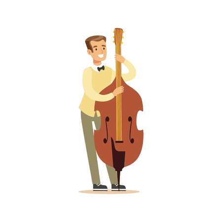 Young cellist playing cello vector Illustration