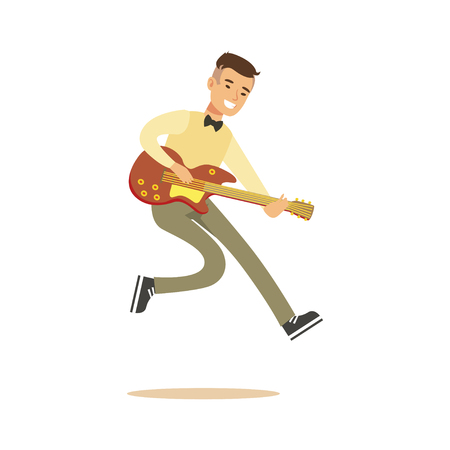 Young musician playing classic guitar vector Illustration