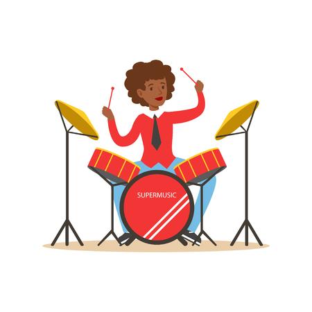 Jeune femme noire jouant à la batterie, gars derrière le vecteur de kit de batterie Illustration Banque d'images - 83493076