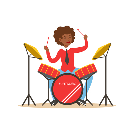Young black woman playing on drums, guy behind the drum kit vector Illustration Illustration