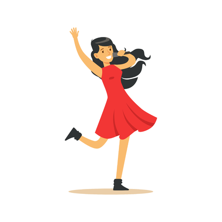 Young beautiful brunette girl in red dress with microphone performing a song vector Illustration Stock Illustratie