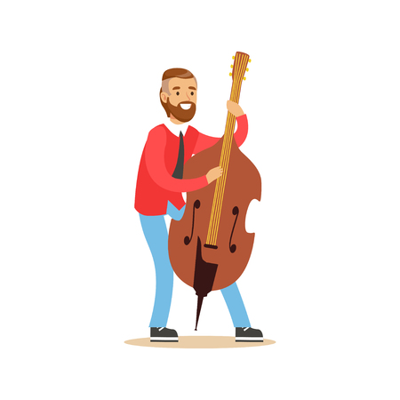 Male cellist playing cello vector Illustration