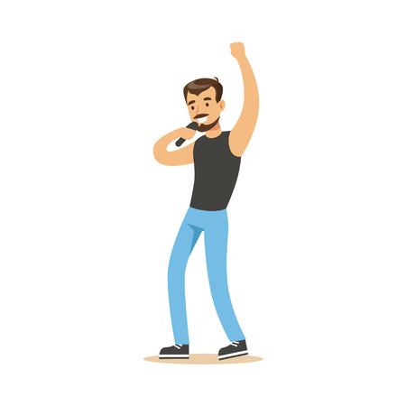 Singer man performing a song vector Illustration 向量圖像