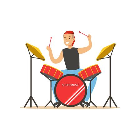 再生ドラム、ドラム キット ベクトル図の背後にある男若い男  イラスト・ベクター素材