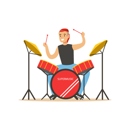 Young man playing on drums, guy behind the drum kit vector Illustration