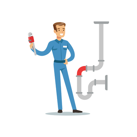 Proffesional plumber man character with monkey wrench repairing pipeline, plumbing work vector Illustration Ilustração