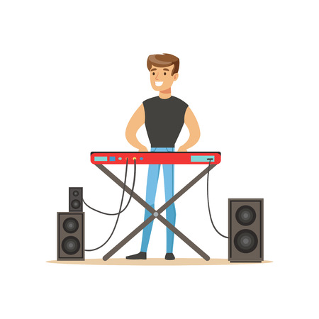 solo: Young man playing electric piano vector Illustration