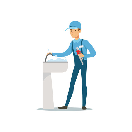 Proffesional plumber man character with monkey wrench repairing faucet tap, plumbing work vector Illustration