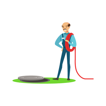 Proffesional plumber man character stnding next to a sewer manhole, plumbing work vector Illustration Illustration