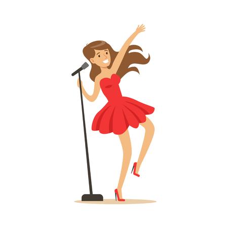 歌ベクトル図を実行するマイクを使って赤いドレスで美しい少女 写真素材 - 83493091