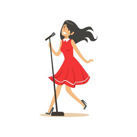 Jeune belle fille brune en robe rouge, chantant une chanson dans le vecteur de microphone Illustration Banque d'images - 83493097