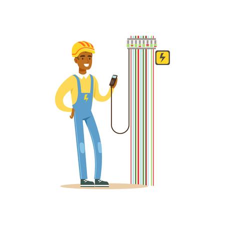 ヒューズ ボックス、電気の出力電圧を測定専門の電気技師男文字作品ベクトル図