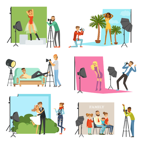 Photographers taking pictures of different people in photo studio with professional photographic equipment vector Illustrations Stok Fotoğraf - 83493105