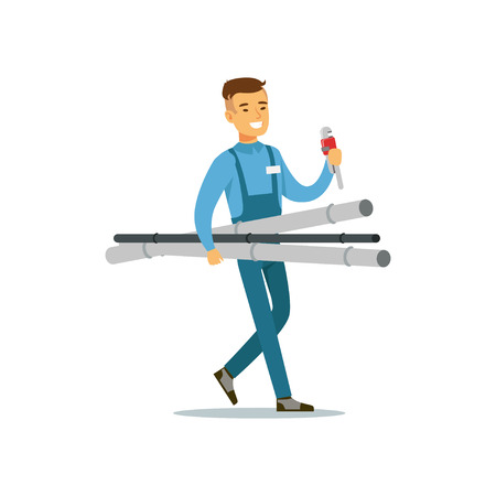 Proffesional plumber man character walking with pipes and monkey wrench, plumbing work vector Illustration Illusztráció