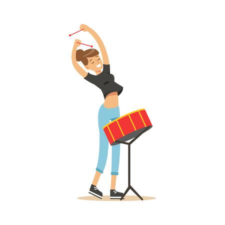 ドラム ベクトル図を遊ぶ美しい少女  イラスト・ベクター素材