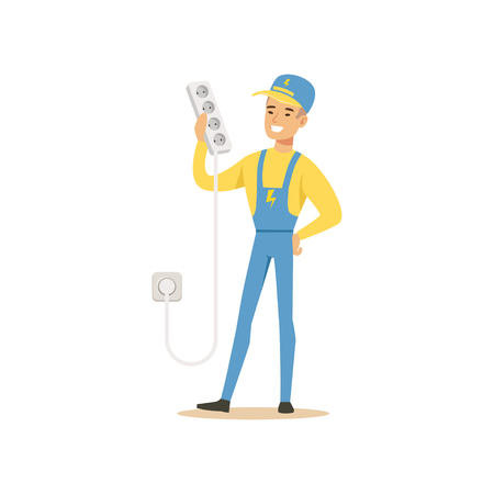 Professional electrician man character standing and holding extension triple cord, electrical works vector Illustration
