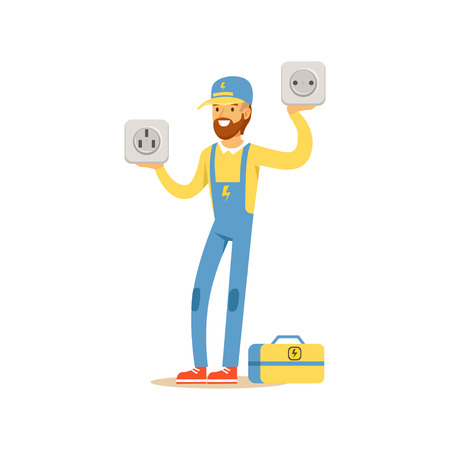 Professional electrician man character standing and holding big sockets, electrical works vector Illustration Ilustracja