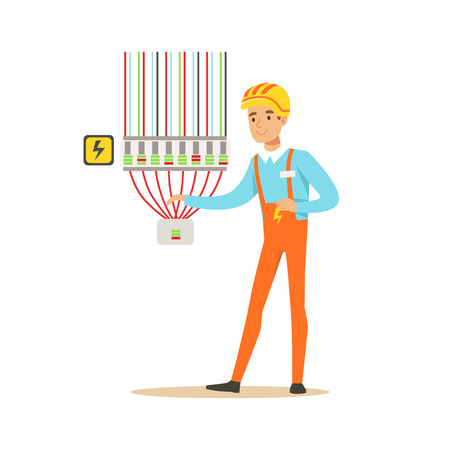 Professional electrician man character checking electrical equipment, electrical works vector Illustration