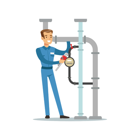 Proffesional plumber man character installing a water meter on a pipeline, plumbing work vector Illustration Stock Illustratie