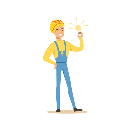 Professional electrician man character standing with light bulb, electrical works vector Illustration Ilustração