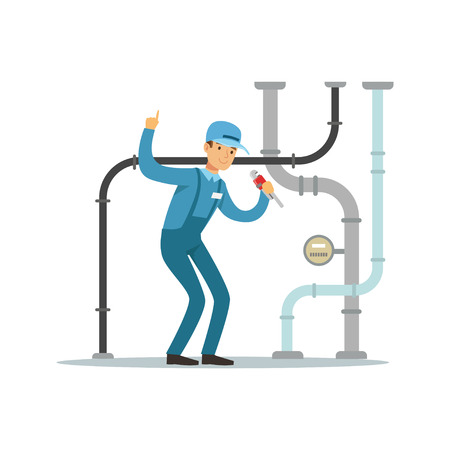 Proffesional plumber man character repairing and fixing water pipes, plumbing work vector Illustration