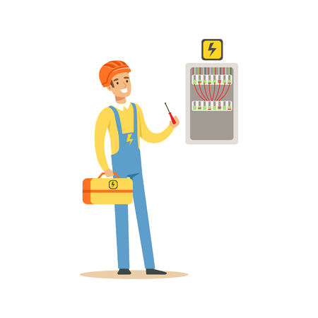 Professional electrician man character screwing equipment in fuse box, electric man perforrming electrical works vector Illustration Иллюстрация