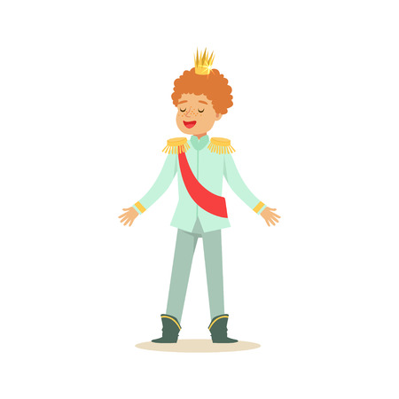 Cute little redhead boy wearing in a light blue prince costume, fairytale costume for party or holiday vector Illustration