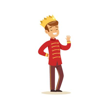 Lindo niño pequeño con un traje de príncipe rojo, traje de cuento de hadas para fiesta o vacaciones vector ilustración Foto de archivo - 83493121
