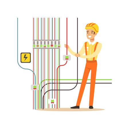 전기 전원 역, 전기 작품 벡터 일러스트를 복구하는 전문 전기 기사 남자 문자 일러스트