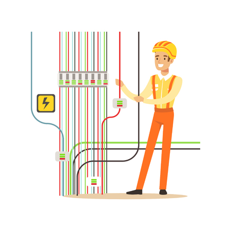 Professional electrician man character repairing electricity power station, electrical works vector Illustration