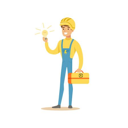 Personaje de electricista profesional de pie y sosteniendo la caja de herramientas y bombilla eléctrica, vector de obras eléctricas Ilustración