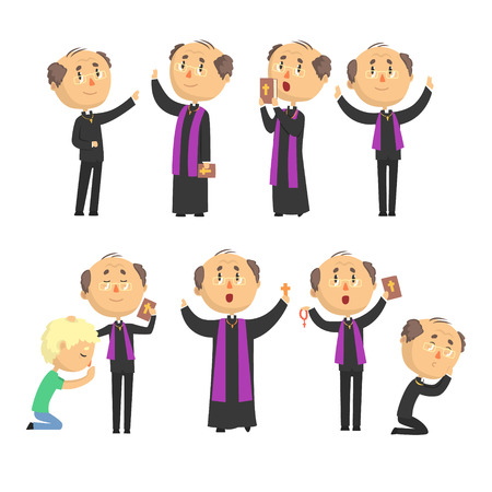 Cartoon catholic priest reading prayer, blessing parishioners, holding Cross, Bible and Gospel set of vector Illustrations Illustration