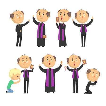 Desenhos animados católico padre leitura oração, bênção paroquianos, segurando Cruz, Bíblia e Evangelho conjunto de ilustrações vetoriais Foto de archivo - 83493204