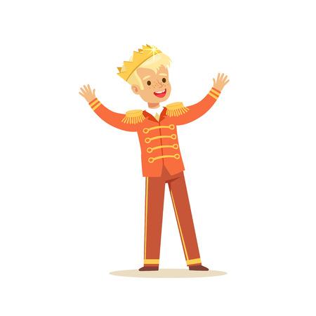 왕자 의상, 동화 의상 파티 또는 휴가 벡터 일러스트를 입고 귀여운 작은 금발 소년 일러스트