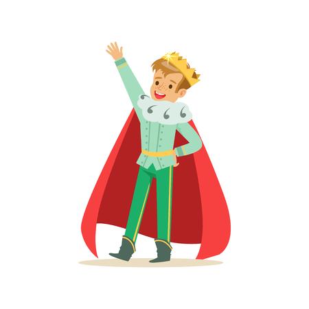 Príncipe lindo niño feliz en una corona de oro y capa roja, traje de cuento de hadas para la fiesta o el vector de vacaciones Foto de archivo - 83493218