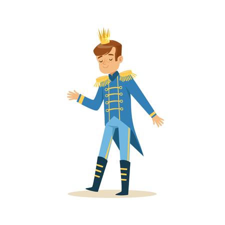 Niño pequeño lindo que llevaba un traje azul del príncipe, traje del cuento de hadas para el partido o el vector del día de fiesta Foto de archivo - 83493220