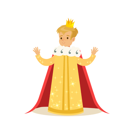 cloak: Cute little blonde boy wearing a king costume, fairytale costume for party or holiday vector Illustration